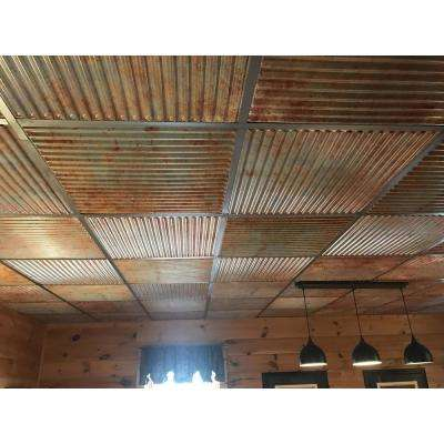 Ridged 2 ft. x 2 ft. PVC Glue-up or Lay in Ceiling Tile in Old Tin Roof