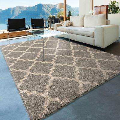 Ginter Gray 8 ft. x 11 ft. Geometric Trellis Indoor Area Rug