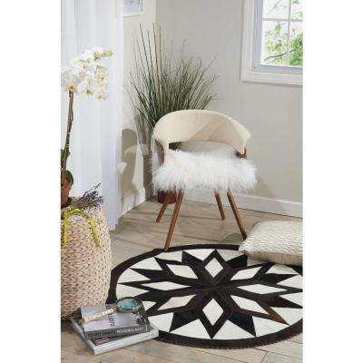 Southern Sun Star Black/Brown 4 ft. x 4 ft. Round Area Rug
