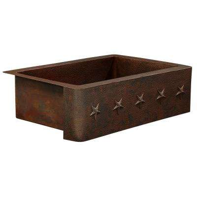 Rodin Farmhouse Apron Front Handmade Pure Solid Copper 22 in. Single Bowl Copper Kitchen Sink with Star Design