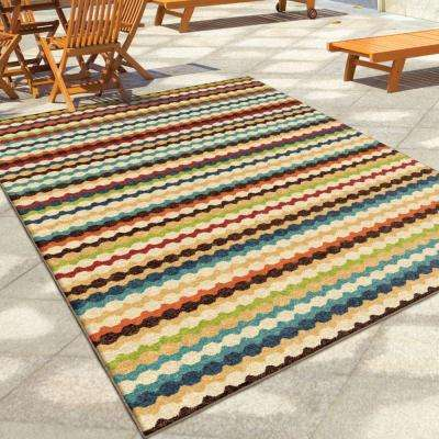 Jumping Jack Multi Striped 8 ft. x 11 ft. Indoor/Outdoor Area Rug