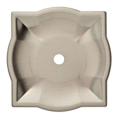 2 in. Satin Nickel Quatrefoil Cabinet Knob Backplate