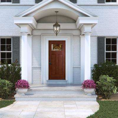 36 in. x 80 in. Black Cherry Right-Hand 1-Lite Craftsman Ardsley Stained Fiberglass Prehung Front Door with Brickmould