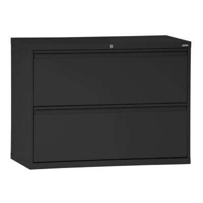800 Series 28 in. H x 36 in. W x19 in. D 2-Drawer Full Pull Lateral File Cabinet in Black