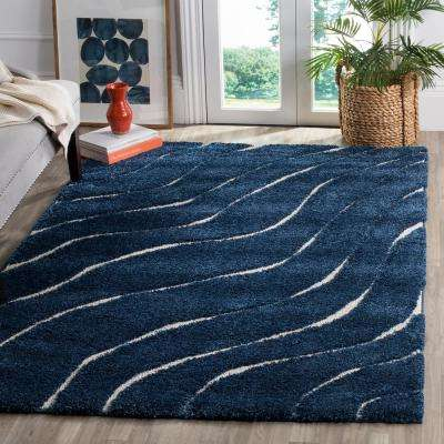 Florida Shag Dark Blue/Cream 8 ft. x 10 ft. Area Rug