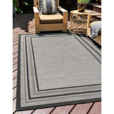 Outdoor Multi Border Gray 8' 0 x 11' 4 Area Rug