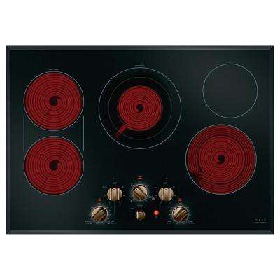 30 in. Radiant Electric Cooktop in Black and Brushed Bronze with 5 Elements including Sync-Burners