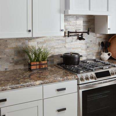 8 ft. Laminate Countertop Kit with Left Miter in Winter Carnival with Premium Quarry Finish and Valencia Edge