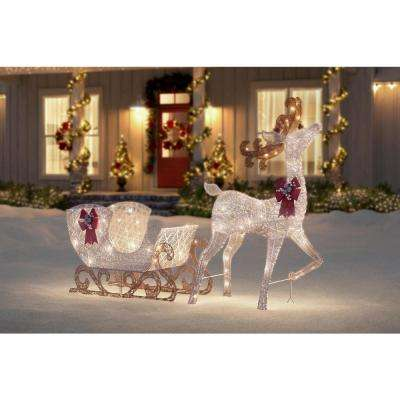 Polar Wishes 60 in. Life Size White Christmas Deer with Sleigh Yard Decoration with LED Lights