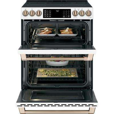 30 in. 7.0 cu. ft. Slide-In Double Oven Electric Range with Convection in Matte White, Fingerprint Resistant