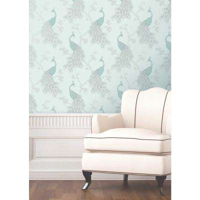 56.4 sq. ft. Phasia Seafoam Peacock Wallpaper