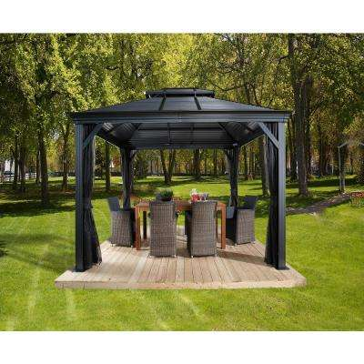 12 ft. D x 14 ft. W Mykonos Double-Roof Aluminum Gazebo with Galvanized Steel Roof Panels and Mosquito Netting