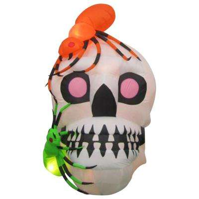 54.33 in. W x 42.13 in. D x 66.14 in. H Inflatable-Skull with Spiders Scene