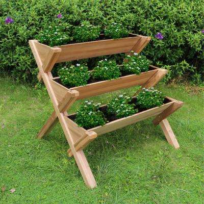 3-Tier Natural Wood Planter