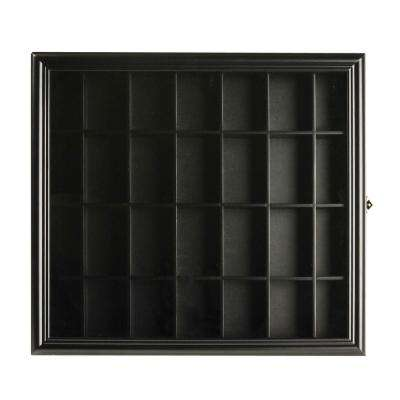 Shot Glass Case 19 in. W x 3.5 in. D Black Decorative Shelf