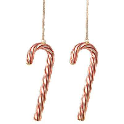 2.75 in. W Swirled Glass Candy Cane Christmas Ornaments (Set of 2)