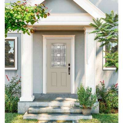 32 in. x 80 in. 1/2 Lite Cordova Desert Sand Painted Steel Prehung Right-Hand Outswing Front Door w/Brickmould
