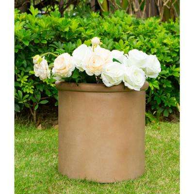 Small 13.8 in. Tall Desert Sand Lightweight Concrete Round Classic Outdoor Planter