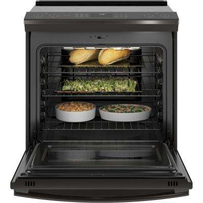 Profile 5.3 cu. ft. Slide-In Smart Induction Range with Self-Cleaning Convection Oven in Black Stainless Steel