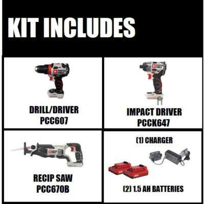 20-Volt MAX Lithium-Ion Brushless Cordless Combo Kit (2-Tool) with BONUS 20-Volt Cordless Reciprocating Saw (Tool-Only)