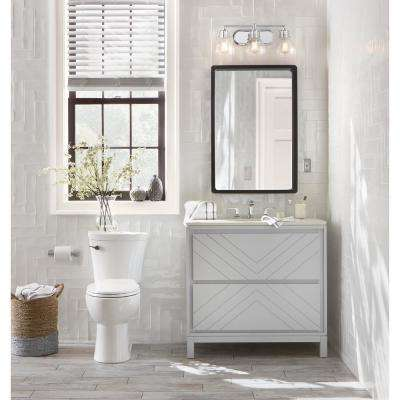 Clemente 36 in. W Single Vanity in Dove Grey with Quartz Vanity Top in White with White Sink