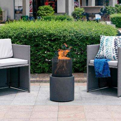 22 in. Wood Burning Faux Stone Fire Column Chimenea