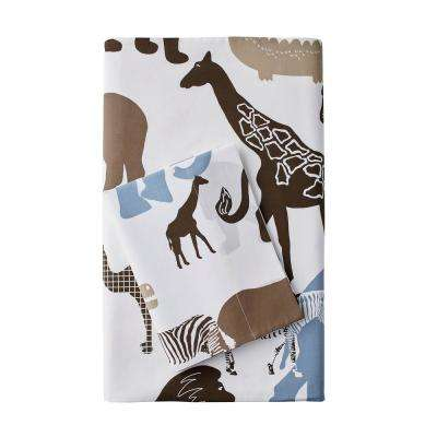 Animal Safari 200-Thread Count Cotton Percale Fitted Sheet