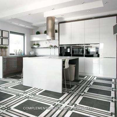 "Twenties Black 7-3/4""x7-3/4"" Ceramic F/W Tile"