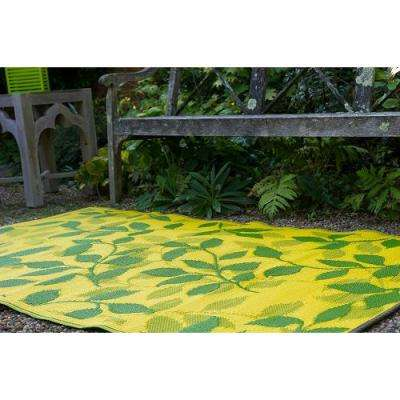Bali Indoor/Outdoor Lemon Yellow and Moss Green 5 ft. x 8 ft. Area Rug
