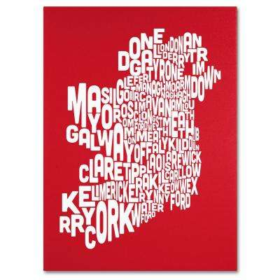 18 in. x 24 in. Ireland Text Map - Red Canvas Art