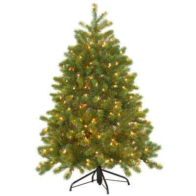 4-1/2 ft. Feel Real Downswept Douglas Fir Hinged Artificial Christmas Tree with 300 Clear Lights