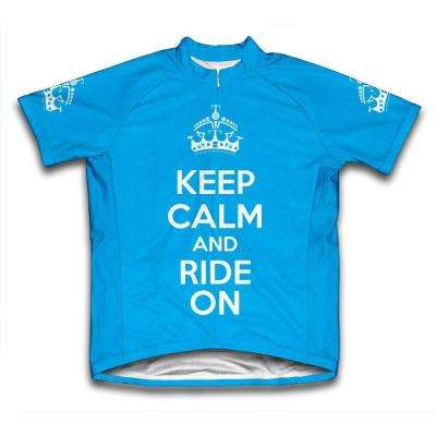 Unisex Large Blue Keep Calm and Ride on Microfiber Short-Sleeved Jersey
