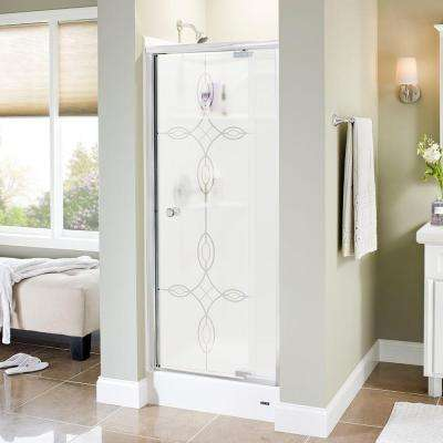 Mandara 31 in. x 66 in. Semi-Frameless Pivot Shower Door in Chrome with Tranquility Glass
