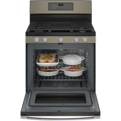 30 in. 5.0 cu. ft. Gas Range with Self-Cleaning Convection Oven and Air Fry in Slate