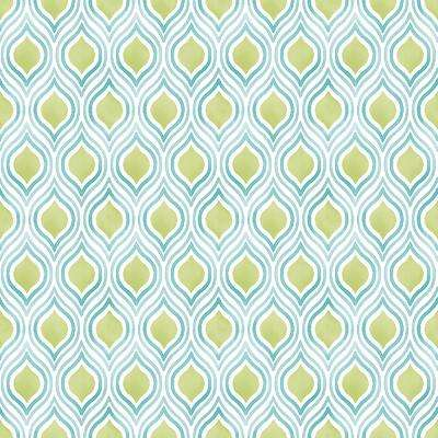 8 in. x 10 in. Plume Green Ogee Wallpaper Sample