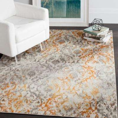 Madison Cream/Orange 4 ft. x 4 ft. Square Area Rug