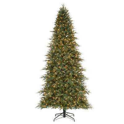 9 ft. Pre-Lit Pomona PE/PVC Artificial Christmas Quick Set Tree x 5657 Tips with 950 UL Indoor Clear Lights