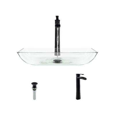 Glass Vessel Sink in Crystal with 731 Faucet and Pop-Up Drain in Antique Bronze