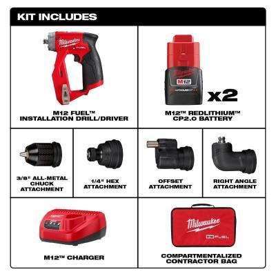 M12 FUEL 12-Volt Lithium-Ion Brushless Cordless 4-in-1 Installation 3/8 in. Drill Driver Kit with 4-Tool Heads