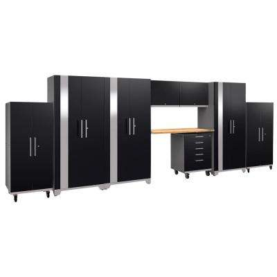 Performance Plus 2.0 80 in. H x 225 in. W x 24 in. D Steel Garage Cabinet Set in Black (9-Piece) with Bamboo Worktop