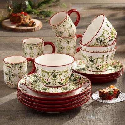 Bargello 16-Piece Holiday Multi Earthenware Dinnerware Set (Service for 4)