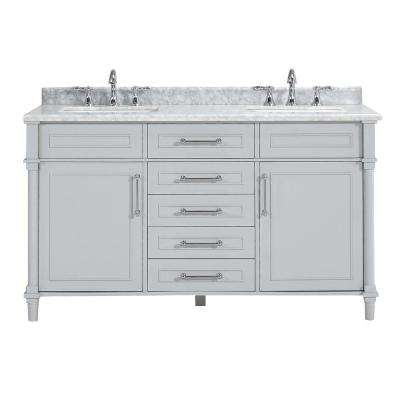Aberdeen 60 in. W x 22 in. D Double Vanity in Dove Grey with Marble Vanity Top in White with White Basin