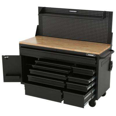 61 in. 10-Drawer 1-Door 24 in. D Mobile Workbench with Solid Wood Top, Pegboard and Shelf in Textured Black Matte