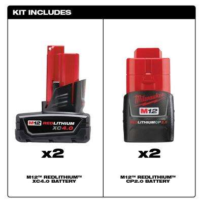 M12 12-Volt Lithium-Ion Compact and Extended Capacity Battery Combo with Two 2.0 Ah and Two 4.0 Ah Batteries (4-Pack)