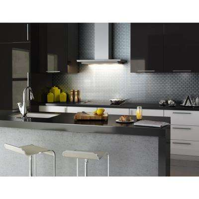 Take Home Sample - Loft Silver Stainless Steel 4 in. X 4 in. Metal Peel and Stick Wall Mosaic Tile (0.11 sq. ft / Each)