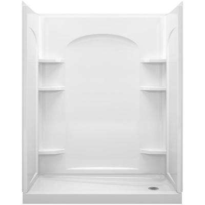 Ensemble 1-1/4 in. x 30 in. x 72-1/2 in. 2-piece Tongue and Groove Shower Endwall in White
