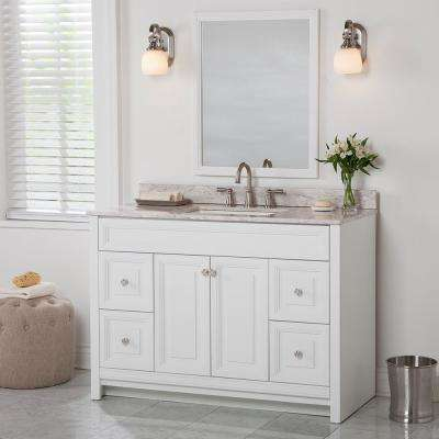 Brinkhill 49 in. W x 22 in. D Bathroom Vanity in White with Stone Effect Vanity Top in Winter Mist with White Sink