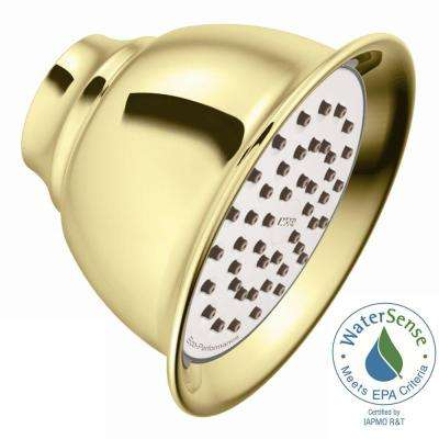 Eco-Performance 1-Spray 4.4 in. Single Wall Mount Fixed Shower Head in Polished Brass