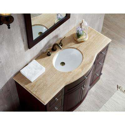 Lotus 48 in. Vanity in Dark Brown with Marble Vanity Top in Travertine with White Undermount Sink and Mirror