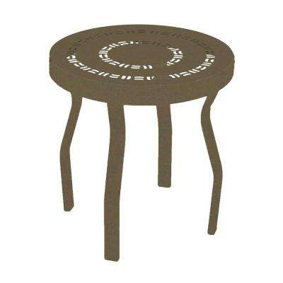Marco Island 18 in. Brownstone Round Commercial Aluminum Patio Side Table